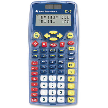 "Texas Instruments TI-15 Explorer Elementary Calculator - Auto Power Off, Dual Power, Plastic Key, Impact Resistant Cover - 2 Line(s) - 11 Digits - Battery/Solar Powered - 6.9"" x 3.5"" x 0.7"" - Blue - 1 Each"