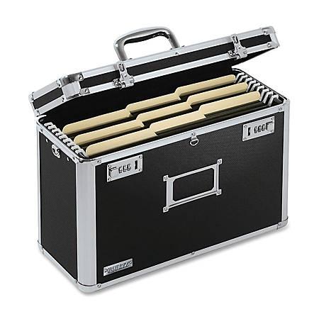 "Vaultz® Locking File Tote, Legal Size, 12 1/4""H x 16 3/4""W x 7 1/4""D, Black"