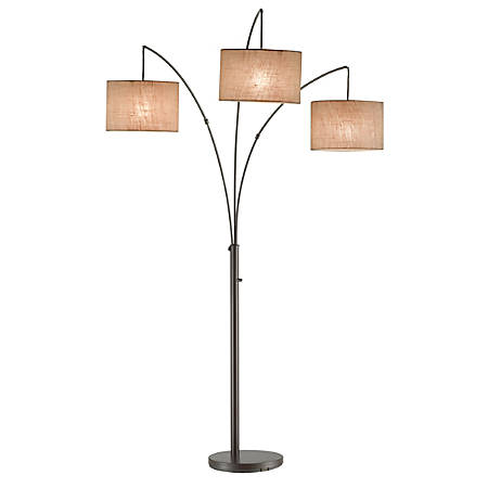 "Adesso® Trinity Arc Floor Lamp, 82""H, Brown Shade/Bronze Base"