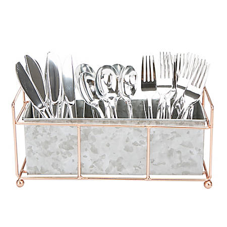 """Mind Reader Metal Utensil Holder Tray, 3-Compartments, 5""""H x 11-1/2""""W x 4""""D, Silver"""