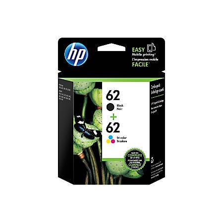 HP 62 Black/Tricolor Ink Cartridges (N9H64FN), Pack Of 2