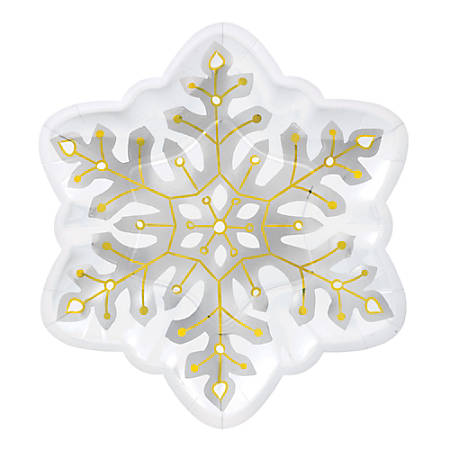 "Amscan Christmas Snowflake-Shaped Plates, 10-1/2"", White, 8 Plates Per Pack, Case Of 2 Packs"