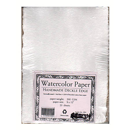 "Shizen Design Student-Grade Watercolor Paper, 9"" x 12"", 100% Recycled, White, Pack Of 25"