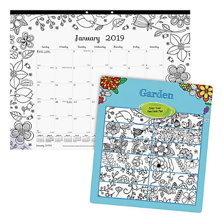 """Blueline Garden Design Monthly Desk Pad - Julian - Monthly - January 2019 till December 2019 - 1Month Single Page Layout - Desk Pad - White - Chipboard - Eyelet, Tear-off, Compact, Reinforced - 22"""" x 17"""""""