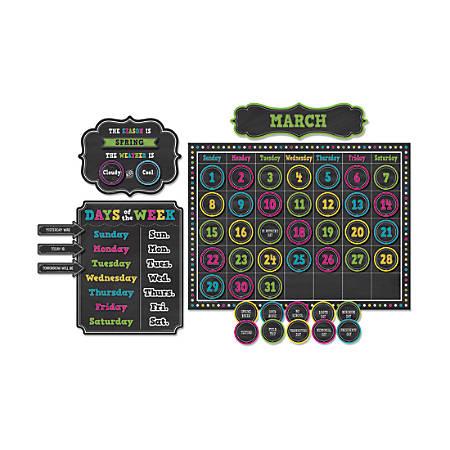 "Teacher Created Resources Calendar Bulletin Board Set, 24"" x 18"", Chalkboard Brights, Pre-K - Grade 8"
