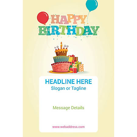 Adhesive Sign, Birthday Cake and Gifts, Vertical