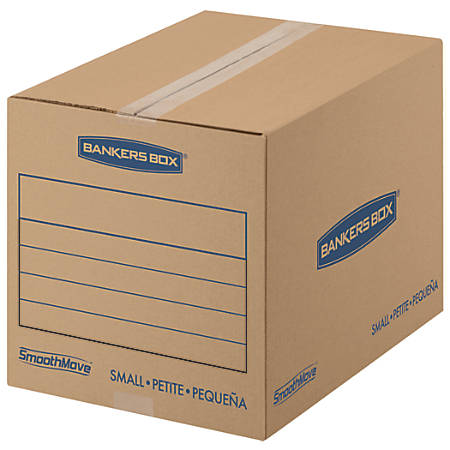"Bankers Box® SmoothMove™ Corrugate Basic Moving Boxes, Small, 12"" x 12"" x 16"", 85% Recycled, Kraft, Pack Of 25"