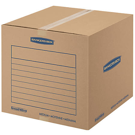 """Bankers Box® SmoothMove™ Corrugate Basic Moving Boxes, Medium, 16"""" x 18"""" x 18"""", 85% Recycled, Kraft, Pack Of 20"""