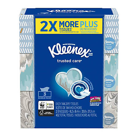 Kleenex® Trusted Care Everyday 2-Ply Facial Tissues, White, FSC® Certified, 144 Tissues Per Box, Pack Of 3 Boxes