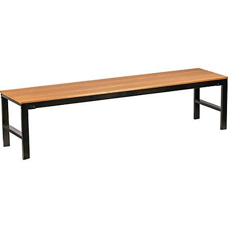 Lorell® Faux Wood Outdoor Bench, Teak/Black