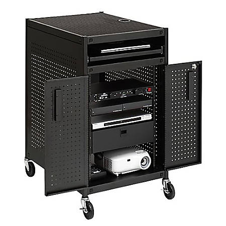 "Bretford Rack Mount Technology Cart, 2 Shelves, 44""H x 24""W x 24""D, Black"