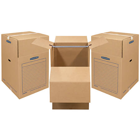 "Bankers Box® SmoothMove Wardrobe Boxes, 40 1/4"" x 24 3/8"" x 24 3/8"", 75% Recycled, Kraft, Pack Of 3"