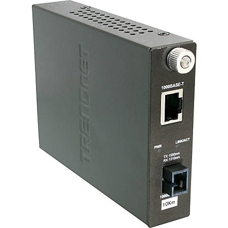 TRENDnet Intelligent 1000Base-TX to 1000Base-FX Dual Wavelength Single Mode SC Fiber Converter - 1 x RJ-45 , 1 x SC - 1000Base-T, 1000Base-LX