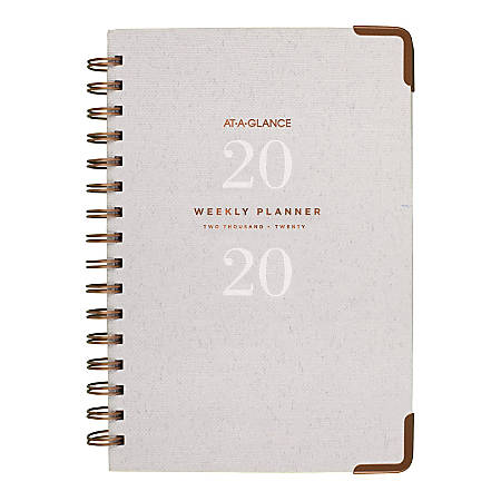 "AT-A-GLANCE® Signature Collection 13-Month Weekly/Monthly Planner, 5-1/2"" x 8-1/2"", Gray, January 2020 to January 2021"