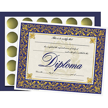 "Flipside Diploma/Graduation All-in-1 Set - 8.50"" x 11"" - Blue, Gold - Paper"