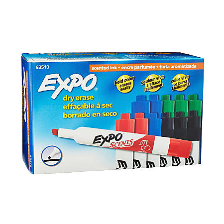 EXPO® Scents Dry-Erase Markers, Chisel Tip, Assorted, Pack O 12