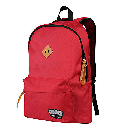 """Volkano Scholar Backpack With 15.6"""" Laptop Pocket, Red"""