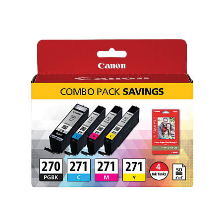 Canon PGI-270/CLI-271 Black/Color Ink Tanks And 50-Sheet Paper Combo Pack (0373C005)