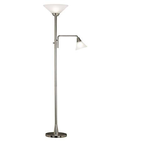 "Kenroy Home Rush Torchiere Floor Lamp, 72""H, Brushed Steel"