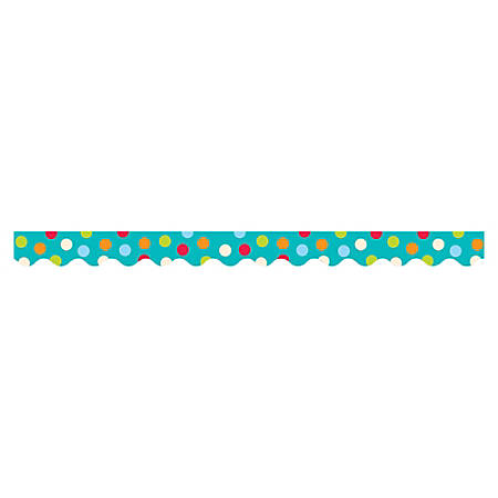 "Creative Teaching Press Dots on Turquoise Border - (Border) Shape - Dots - 2.25"" Width x 420"" Length - Turquoise - 1 Each"