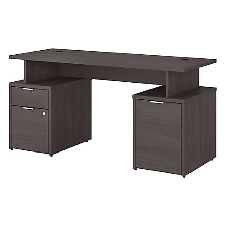 """Bush Business Furniture Jamestown Desk With Drawers And Small Storage Cabinet, 60""""W, Storm Gray, Premium Installation"""