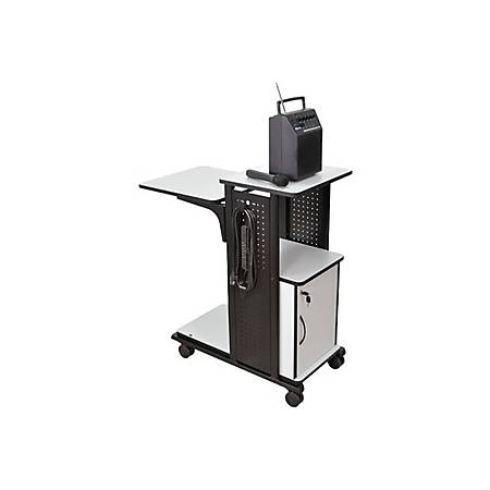 "AmpliVox SN3310 - Presentation Station with Cabinet - 39.5"" Height x 18.3"" Width x 34.5"" Depth - Gray, Laminate - Steel - Black"