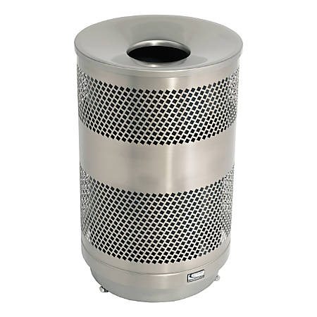 """Suncast Commercial Outdoor Perforated Round Stainless-Steel Trash Can, 33 Gallons, 34-3/4"""" x 21-13/16"""""""