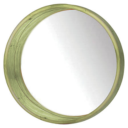 """PTM Images Framed Mirror, Round Wall, 24""""H x 24""""W, Natural Green"""