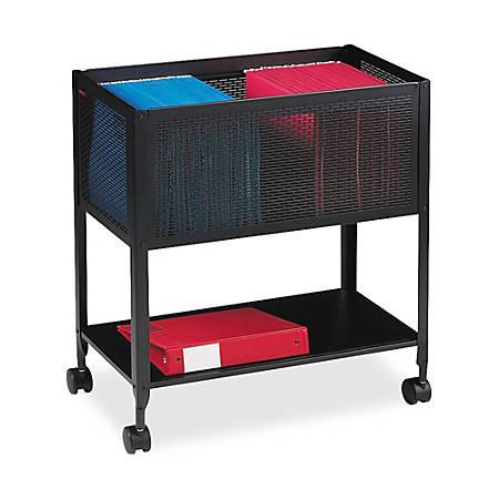 Lorell® Steel Mesh Hanging Letter-Size Mobile File Cart, Black