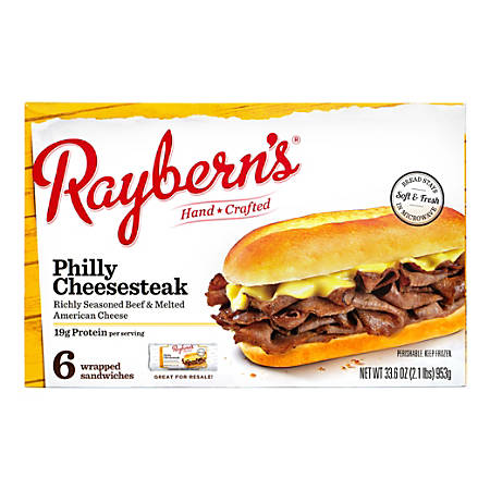 Raybern's New York Deli-Style Philly Cheesesteaks, 33.6 Oz, Box Of 6 Sandwiches