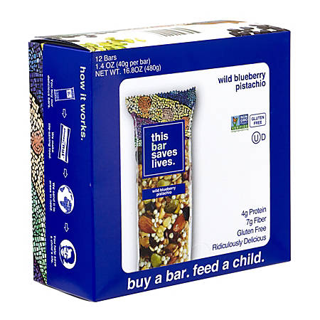This Bar Saves Lives Bars, Wild Blueberry Pistachio, 1.4 Oz, Pack Of 12 Bars