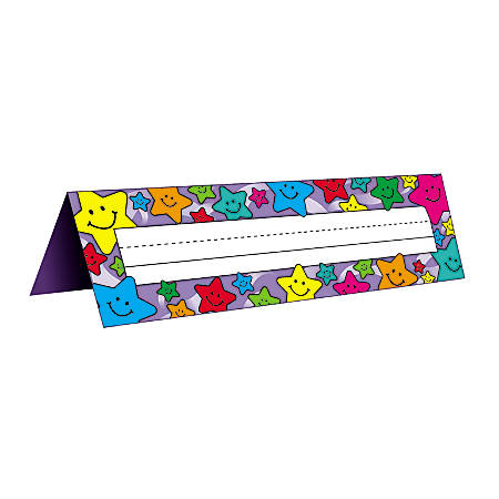 "Teacher Created Resources Tented Name Plates, 7"" x 11 1/2"", Happy Stars, Pre-K - Grade 8, 36 Plates Per Pack, Set Of 4 Packs"
