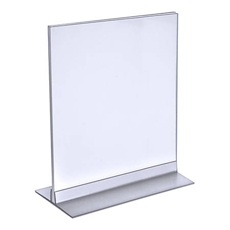 """Azar Displays Acrylic Vertical/Horizontal T-Strip Sign Holders, 8 1/2"""" x 11"""", Clear, Pack Of 10"""