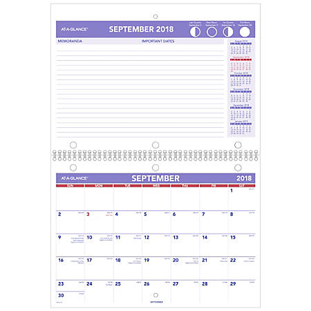 "AT-A-GLANCE® Mini 16-Month Desk/Wall Calendar, 11"" x 8"", September 2018 to December 2019"
