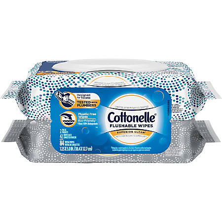 Cottonelle Cottonelle FreshCare Flushable Wipes - 2 Pouches - White - Flushable, Quick Drying - 42 - 84 / Pack