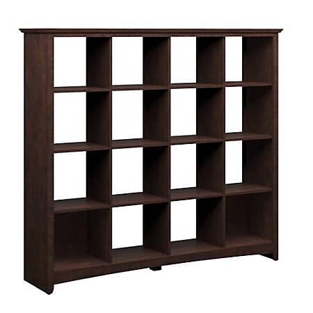 Bush Furniture Buena Vista 16 Cube Bookcase, Madison Cherry, Standard Delivery