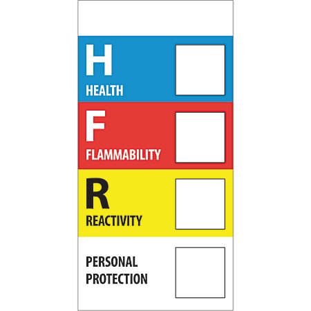 "Tape Logic® Preprinted Shipping Labels, DL1289, Health Flammability Reactivity, Rectangle, 1"" x 2"", Multicolor, Roll Of 500"