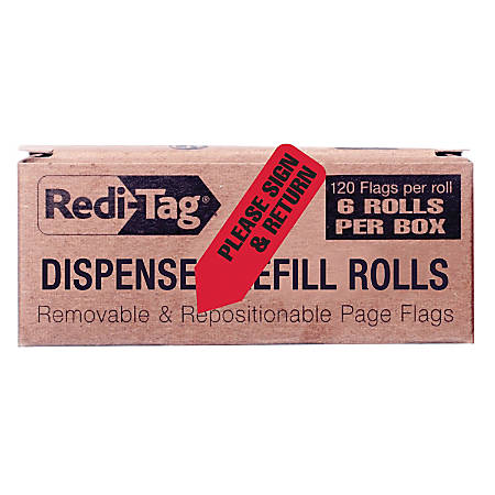"Redi-Tag Dispenser Refills, ""Please Sign & Return,"" 1 3/4"" x 9/16"", Red, 120 Flags Per Pad, Box Of 6 Pads"