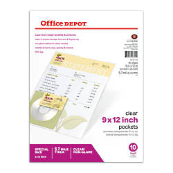 Office Depot Brand Clear Pockets 9