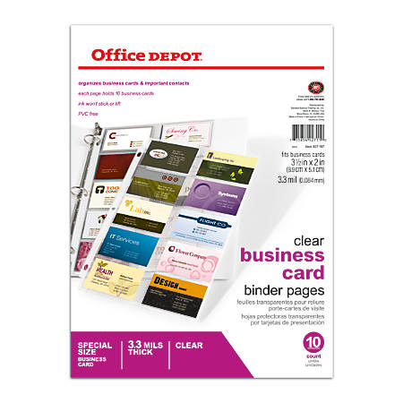 Office depot brand business card binder pages 8 12 x 11 clear pack of 10 by office depot officemax - Office depot printing prices ...