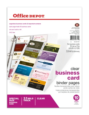 Office depot brand business card binder pages 8 12 x 11 clear pack office depot brand business card binder pages 8 12 x 11 clear pack of 10 by office depot officemax reheart Images