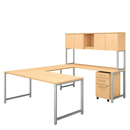 """Bush Business Furniture 400 Series U Shaped Table Desk with Hutch and 3 Drawer Mobile File Cabinet, 72""""W x 30""""D, Natural Maple, Standard Delivery"""