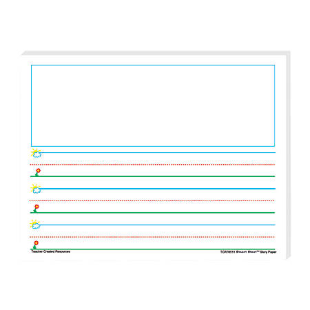 """Teacher Created Resources® Smart Start K-1 Story Filler Paper, 11"""" x 8 1/2"""", 100 Sheets (200 Pages), Pack Of 4"""