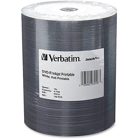 Verbatim® DVD-R Printable Disc Spindle, White, Pack Of 100