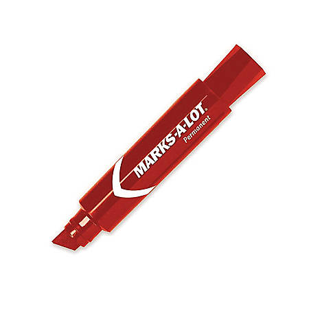 Avery® Jumbo Desk Style Permanent Markers - 15.875 mm Marker Point Size - Chisel Marker Point Style - Red - Red Barrel - 1 Each