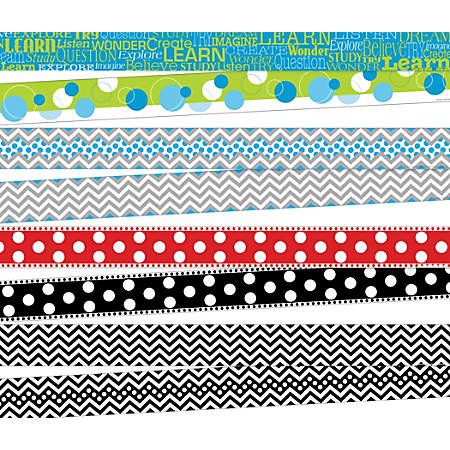 """Barker Creek Chevron/Dots Double-Sided Borders, 3"""" x 35"""", Multicolor, Pack Of 52 Borders"""