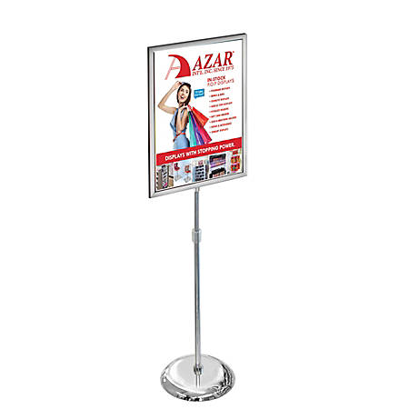 """Azar Displays Metal Vertical 2-Sided Slide-In Floor Stand, 43-1/2""""H x 15""""W x 15""""D, Clear"""