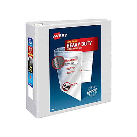 "Avery® Heavy-Duty View Binder, With Locking One-Touch EZD™ Rings, 8 1/2"" x 11"", 4"" Rings, 54% Recycled, White"