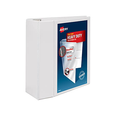 """Avery® Heavy-Duty View Binder, With Locking One-Touch EZD™ Rings, 8 1/2"""" x 11"""", 5"""" Rings, 48% Recycled, White"""