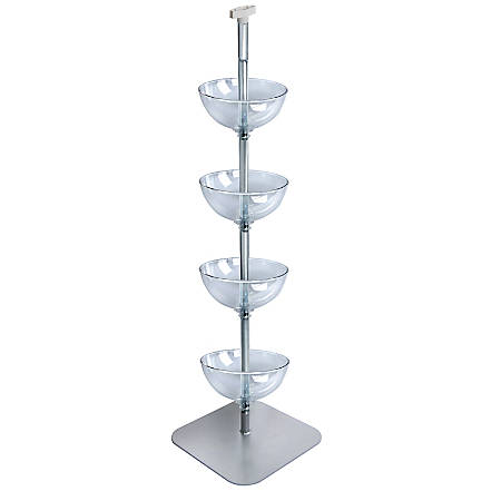 """Azar Displays Tiered Bowl Floor Display With Flat Base, 4 Tiers, 12""""D, Clear"""